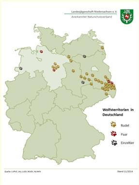 Territoria wolven in Duitsland (Landesjägerschaft Niedersachsen)
