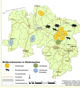 Voorkomen wolven in Niedersachsen (Landesjägerschaft Niedersachsen)