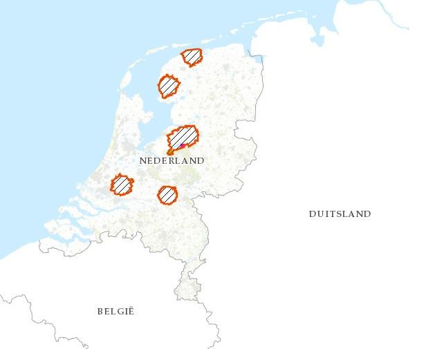 Actuele kaart vervoers- en jachtbeperkingsgebieden door vogelgriep Bron: Rijksdienst voor Ondernemend Nederland (RVO)