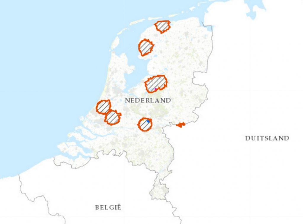 Actuele kaart vervoers- en jachtbeperkingsgebieden door vogelgriep (10KM-zones) Bron: Rijksdienst voor Ondernemend Nederland (RVO)