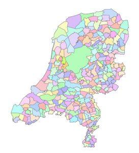 De kaart met wildbeheereenheden van Nederland
