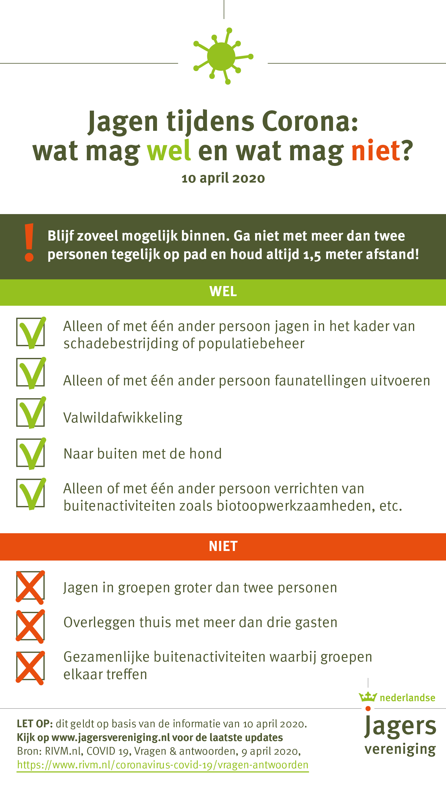 Checklist voor jagers tijdens coronacrisis_10 april 2020